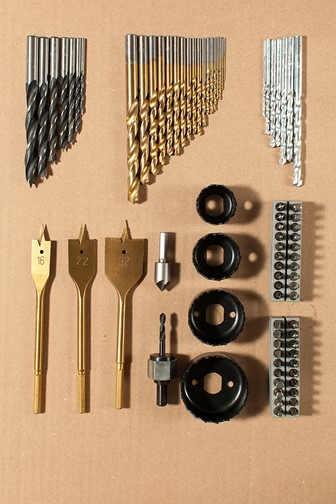set of assorted metal drill bits and screwdriver bits