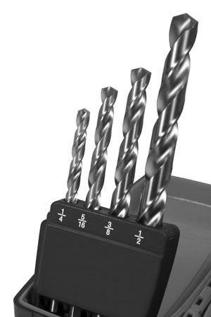 four drill bits, ranging from one-quarter inch to one-half inch diameter